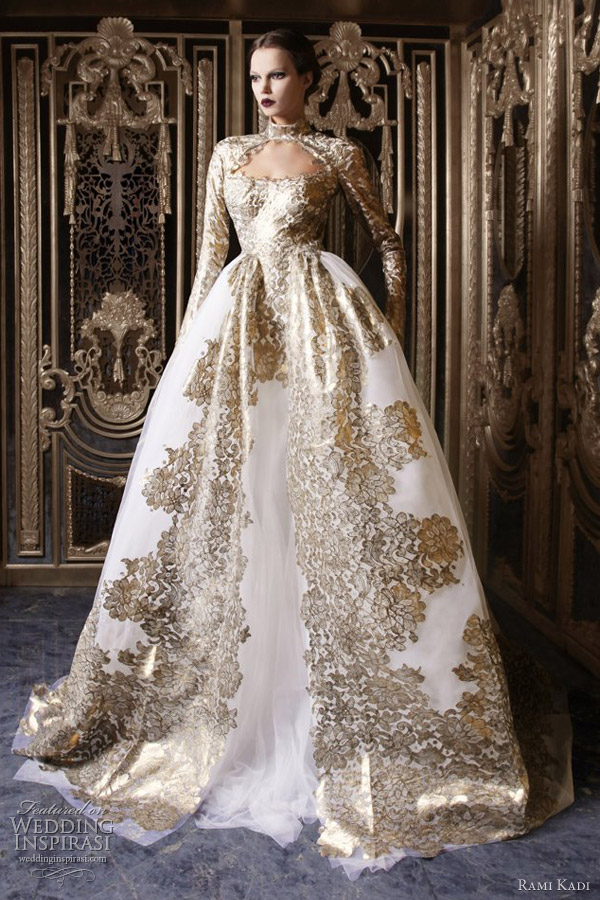 rami-kadi-couture-2013-white-gold-ball-gown-wedding-dress-long-sleeves