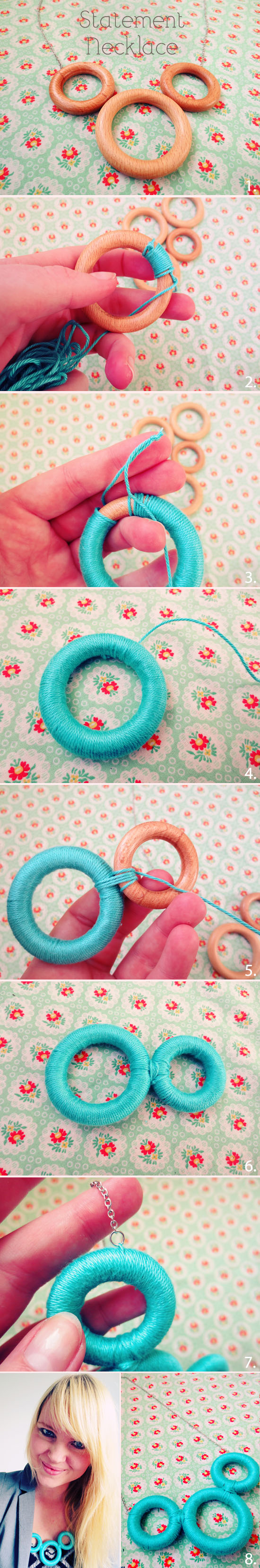 How to make a curtain ring statement necklace