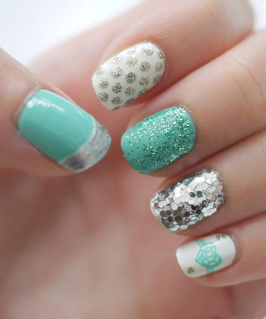Beautiful-spring-nails-with-silver-design-(7)