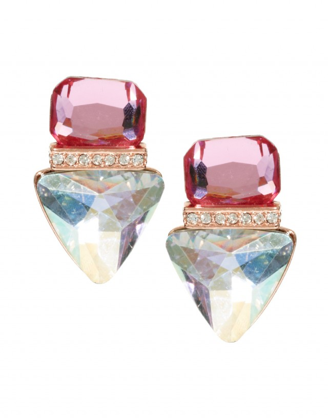 Jewelled Triangle Stud Earrings