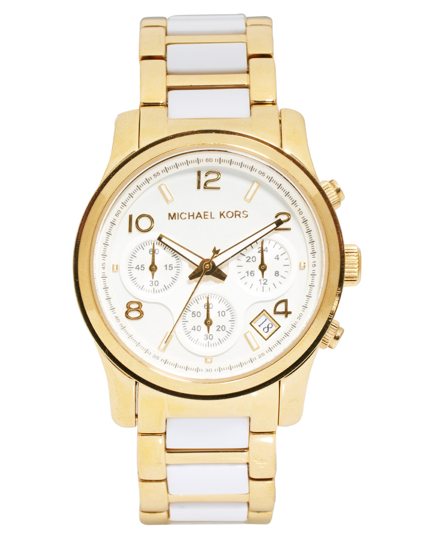 Michael Kors Runway White And Gold Strap Chronograph Watch