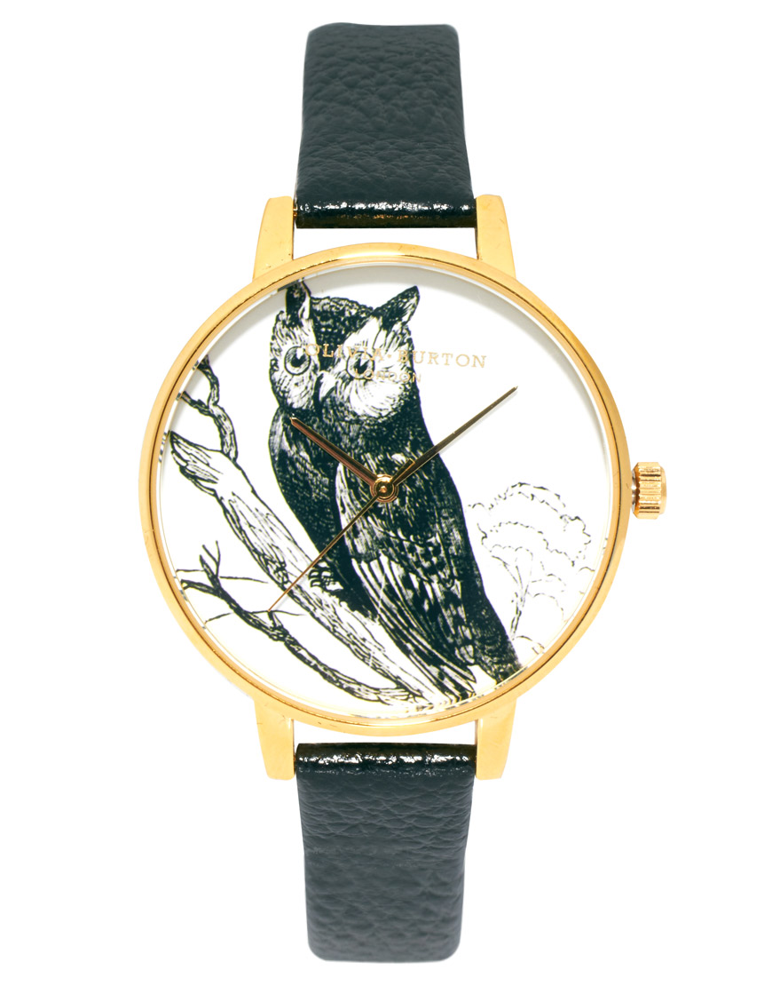 Olivia Burton Black Leather Watch With Owl Print Face