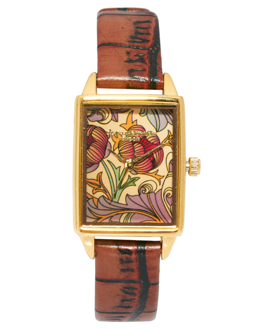 Olivia-Burton-Tan-Leather-Watch-With-Rectangular-Woodland-Print-Face