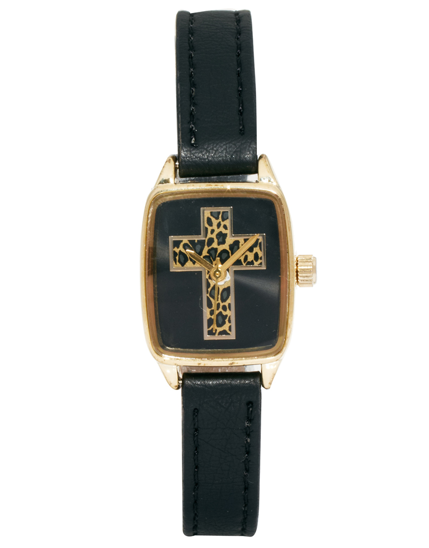 River Island Square Leopard Cross Helen Watch