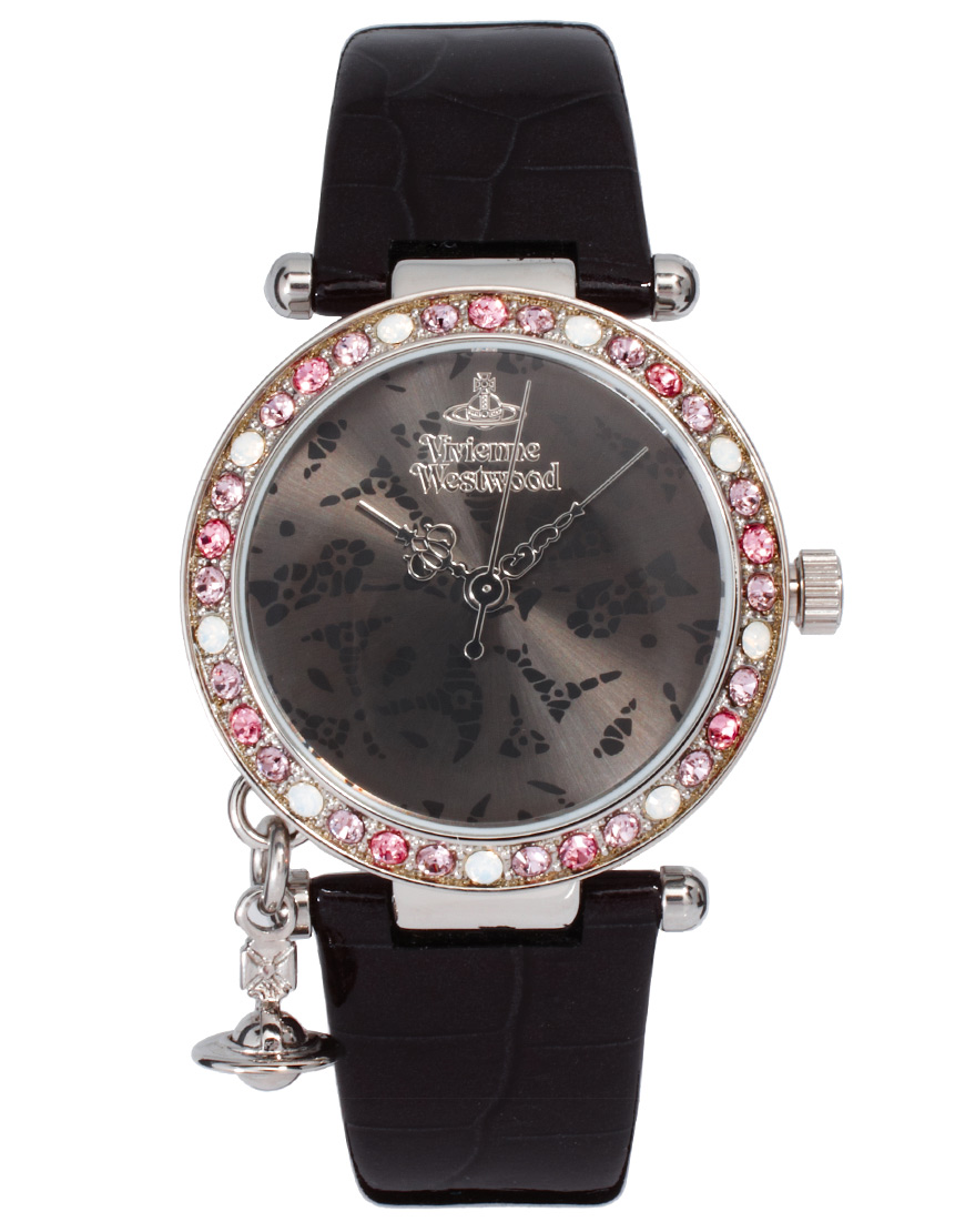 Vivienne Westwood Orb In Black With Diamante Detail Watch