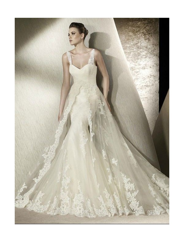 Tulle sweetheart strapless neckline mermaid wedding dress with