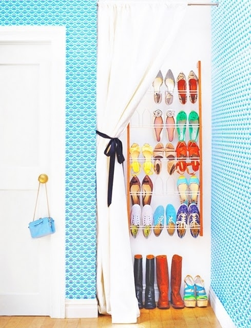 Cover a shoe rack with a curtain