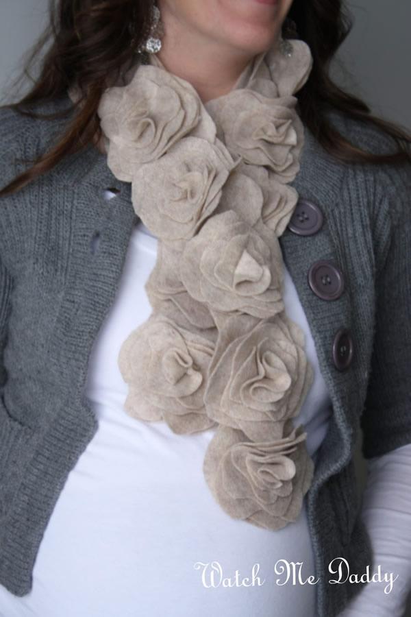 DIY Felt Flower Scarf