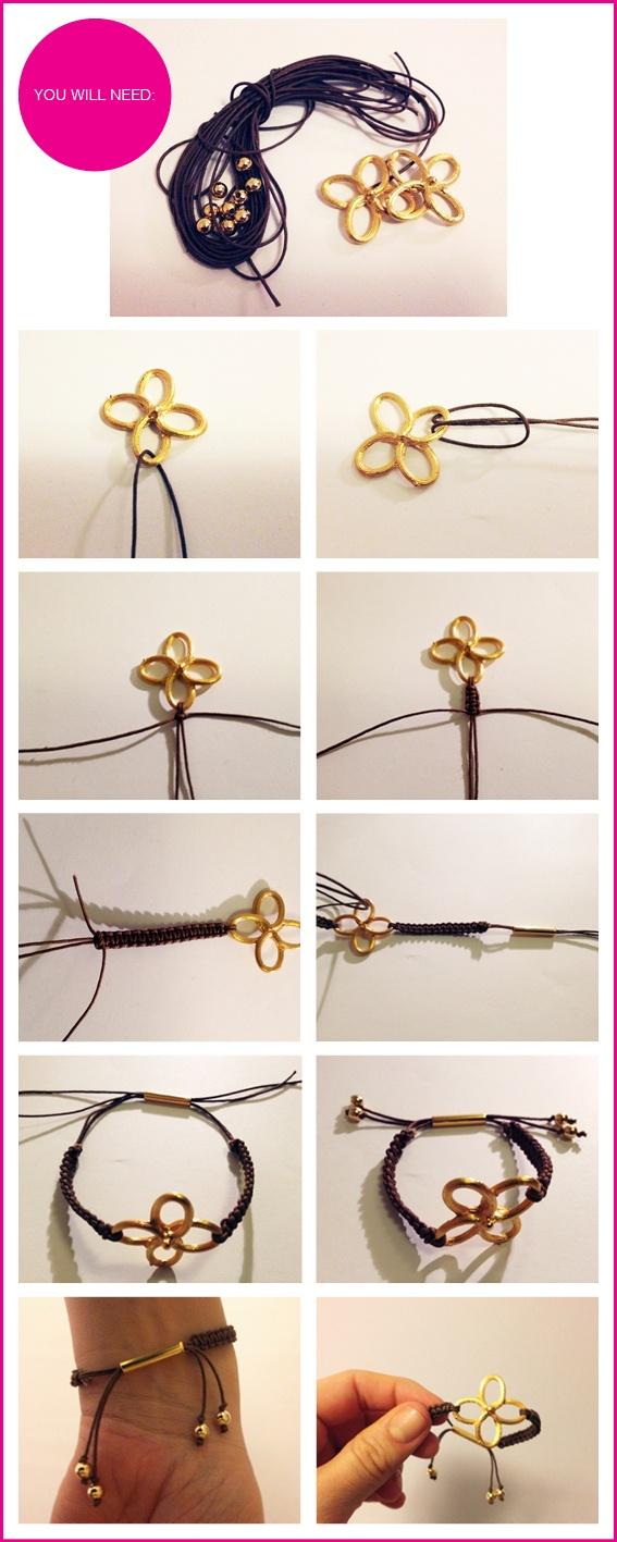 DIY Gold Clover Bracelets