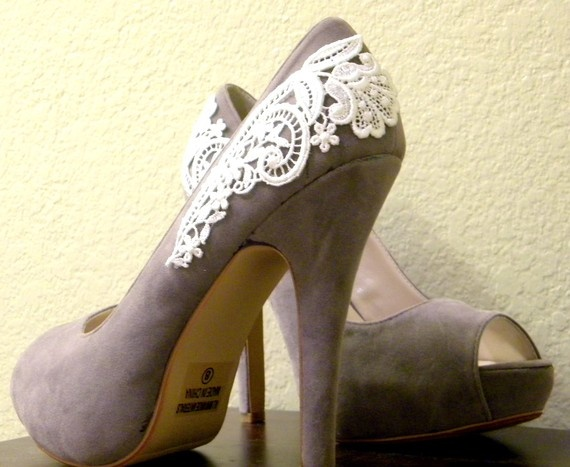 Gray Peep Toe Pumps with White Venise Lace