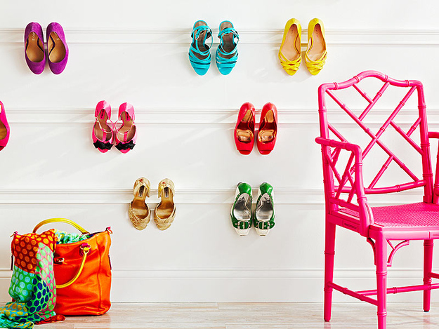 Hang molding on the walls to create a pretty shoe display