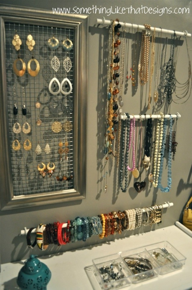 21 useful diy jewelry holders. Black Bedroom Furniture Sets. Home Design Ideas