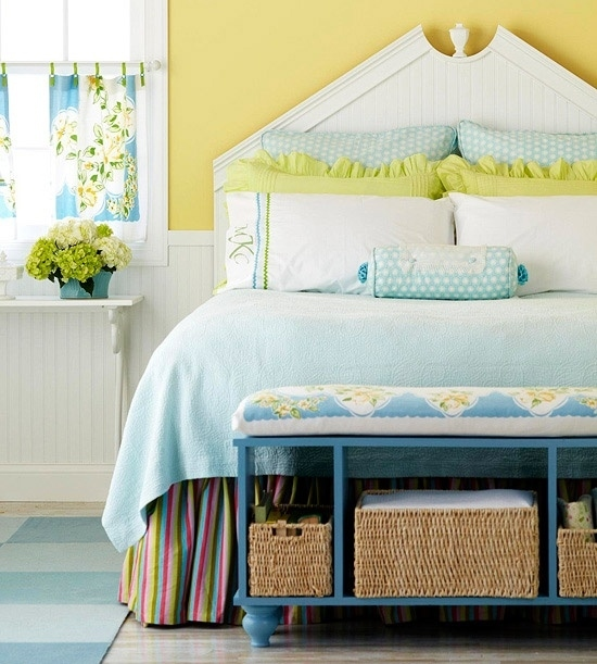 Keep shoes in a dresser or cubby shelf at the foot of your bed.