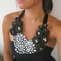 Pure Silk Rosette Statement Bib Necklace