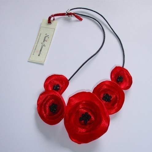 Red Poppy Fabric Flower Necklace