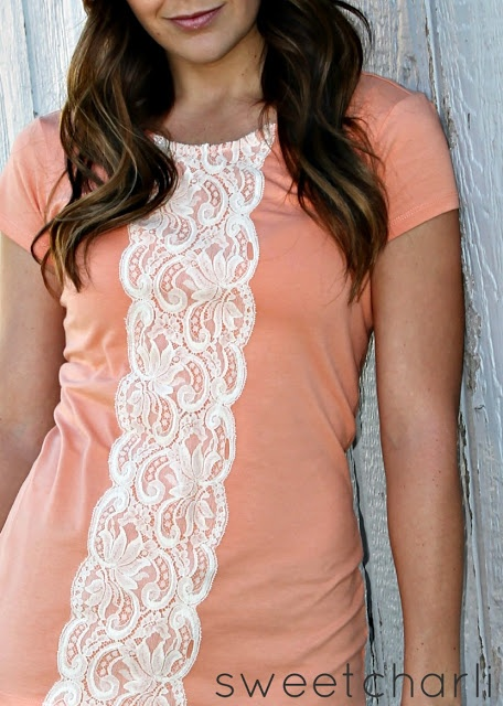 Refashion - Easy Lace Shirt DIY