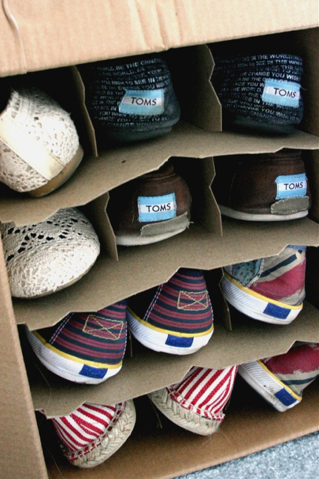 Store your shoes in wine boxes under the bed