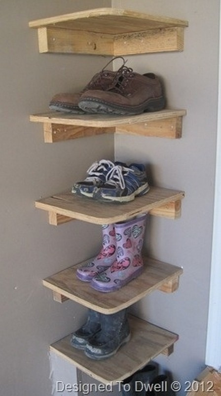 Take up unused space by putting up shelves in the corner of the garage