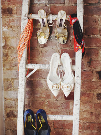 Use an old ladder to hang heeled shoes on