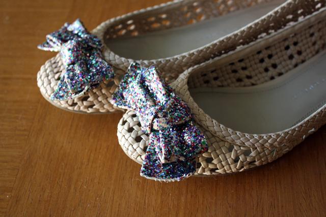 glittered-bow ballet flats