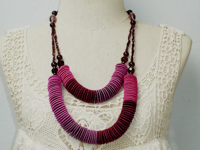 Couple violet coin necklace
