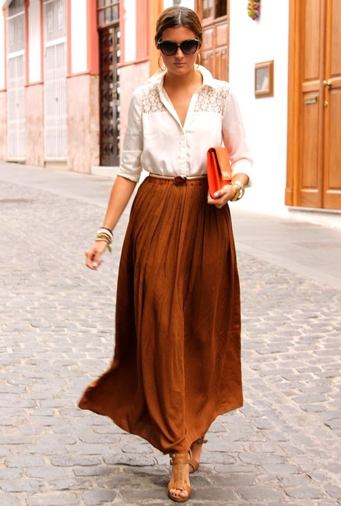 Long brown maxi skirt – Modern skirts blog for you