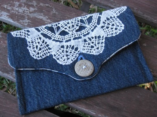 Lace Denim Clutch