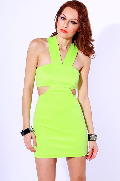 Lime Green Club Dresses Neon Coral Pleated Ruched Cut