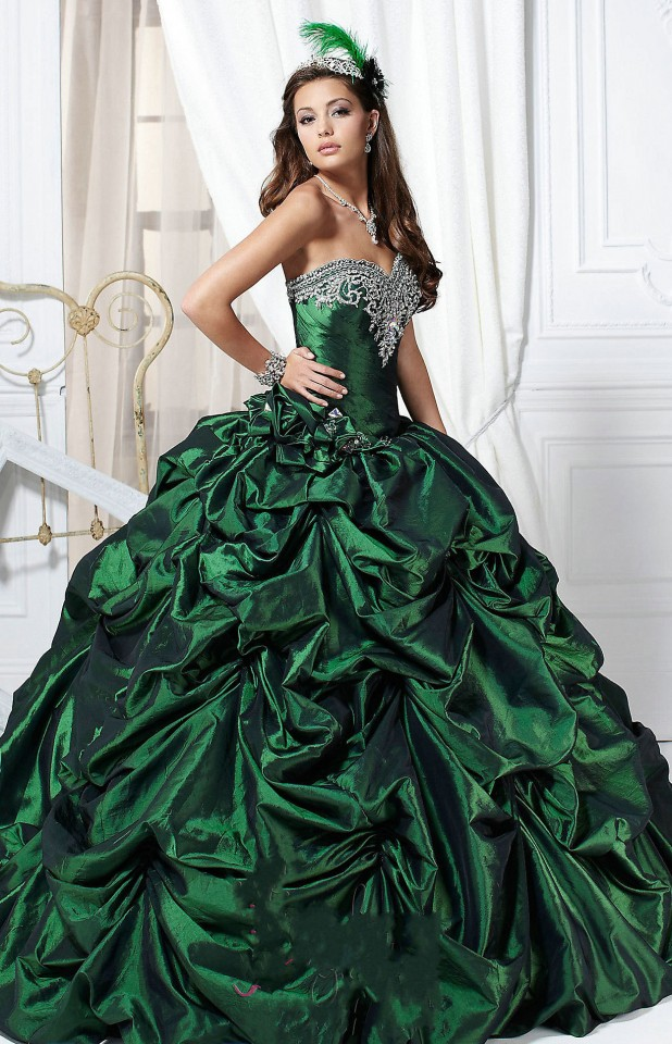Perfectly Looking Sweetheart Pick Up Skirt Dark Green Quinceanera Dress