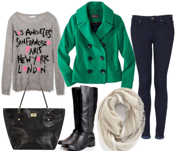 collegefashion.net-wp-content-uploads-2013-01-how-to-style-an-emerald-coat-with-skinny-jeans-cream-scarf-black-tote-black-riding-boots-and-graphic-sweater