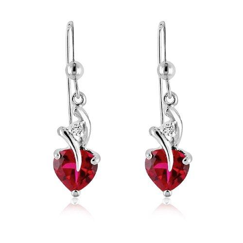 3.00 Carat tw Ruby & White Sapphire Heart Drop Earrings in Sterling Silver
