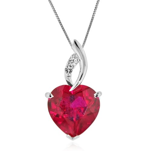 7.50 Carat tw Ruby & White Sapphire Heart Pendant in Sterling Silver with Chain