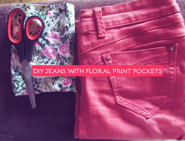 DIY Jeans With Floral Print Pockets