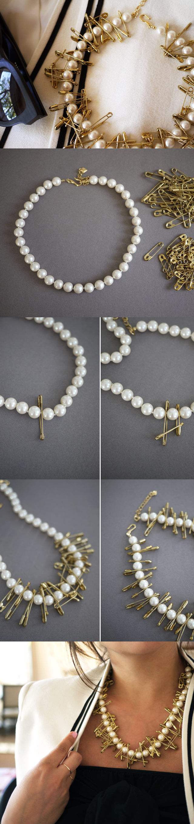 Diy the most beautiful necklace do it yourself ideas diy pearl safety pin necklace solutioingenieria Image collections