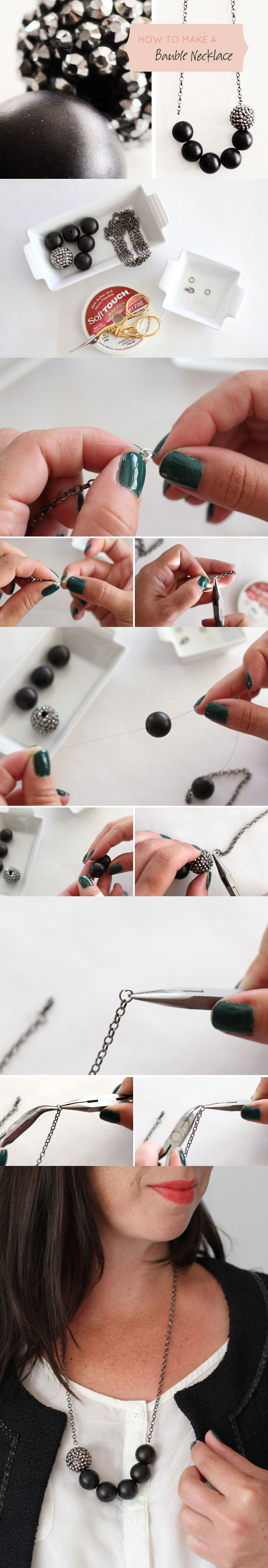 Diy the most beautiful necklace do it yourself ideas how to make a simple bauble necklace solutioingenieria Image collections