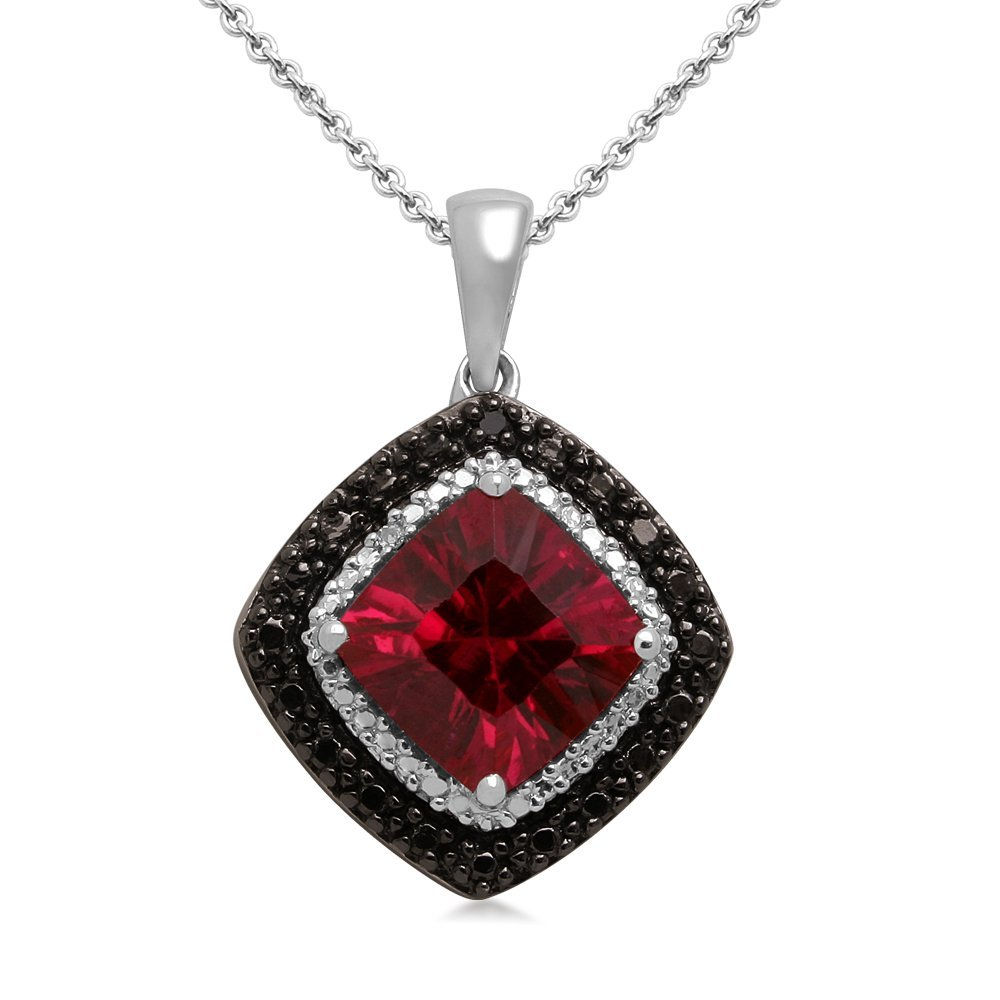 Sterling Silver and Cushion Created Ruby with Black and White Diamond Accents Pendant Necklace