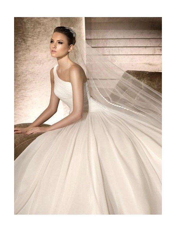 chiffon-one-shoulder-strap-a-line-wedding-dress-with-asymmetrical-rouched-bodice