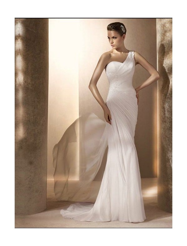 chiffon-one-shoulder-strap-sheath-wedding-dress-with-appliques-rouched-bodice