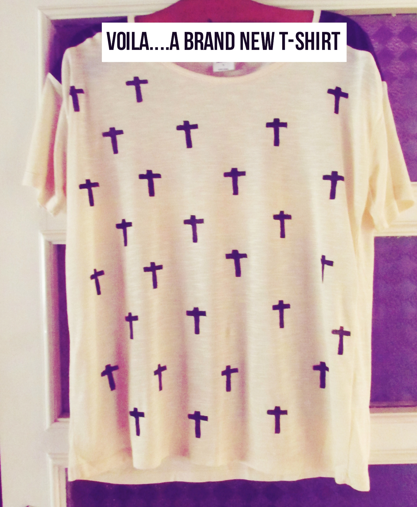 DIY CROSS PRINT ROCK CHIC TOP
