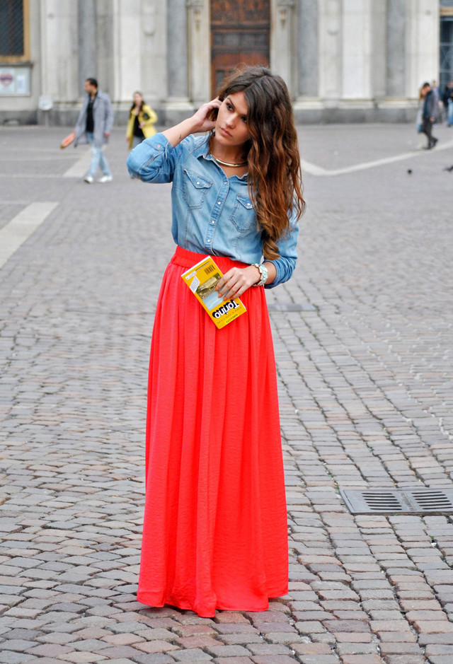 34 Fashionable Casual Combinations With Long Skirts For