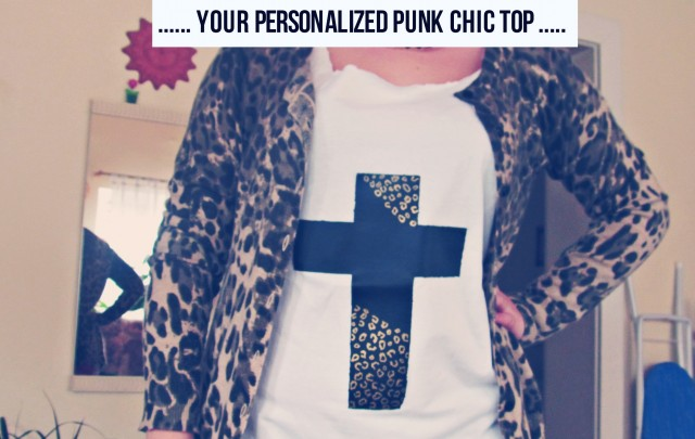 DIY BLACK AND WHITE PUNK TOP