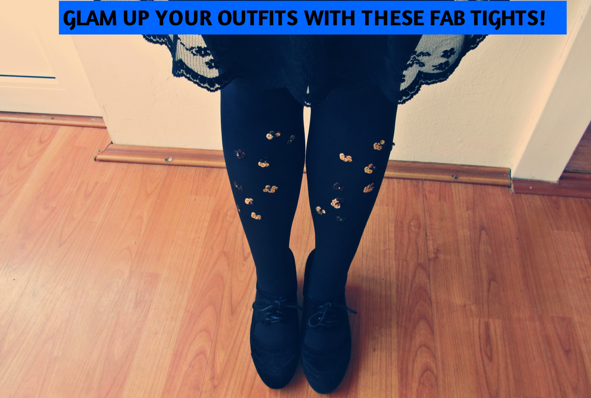 DIY TIGHTS WITH SEQUIN DECORATION