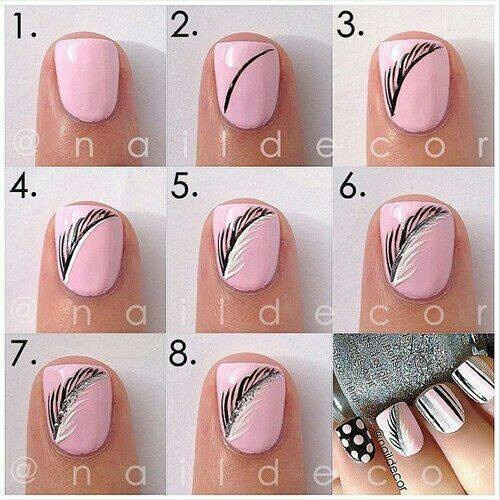 Feathered-Pink-Nail-Art-Tutorial