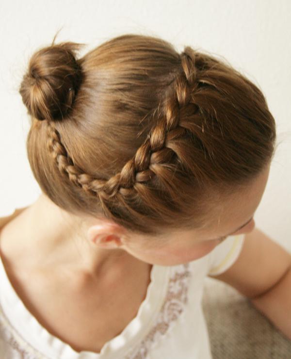 braided hairdo done