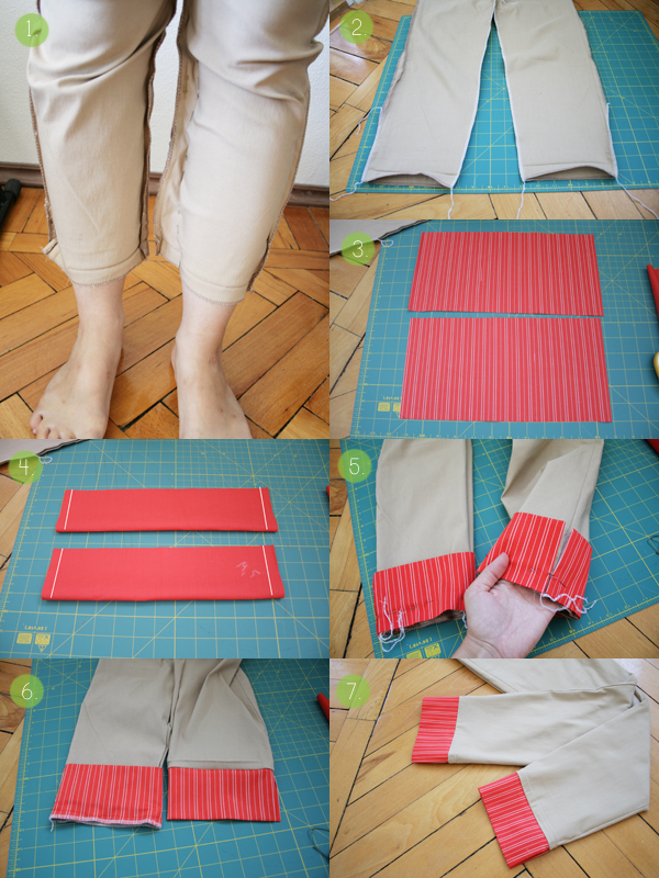 colorful cuffs pants tutorial