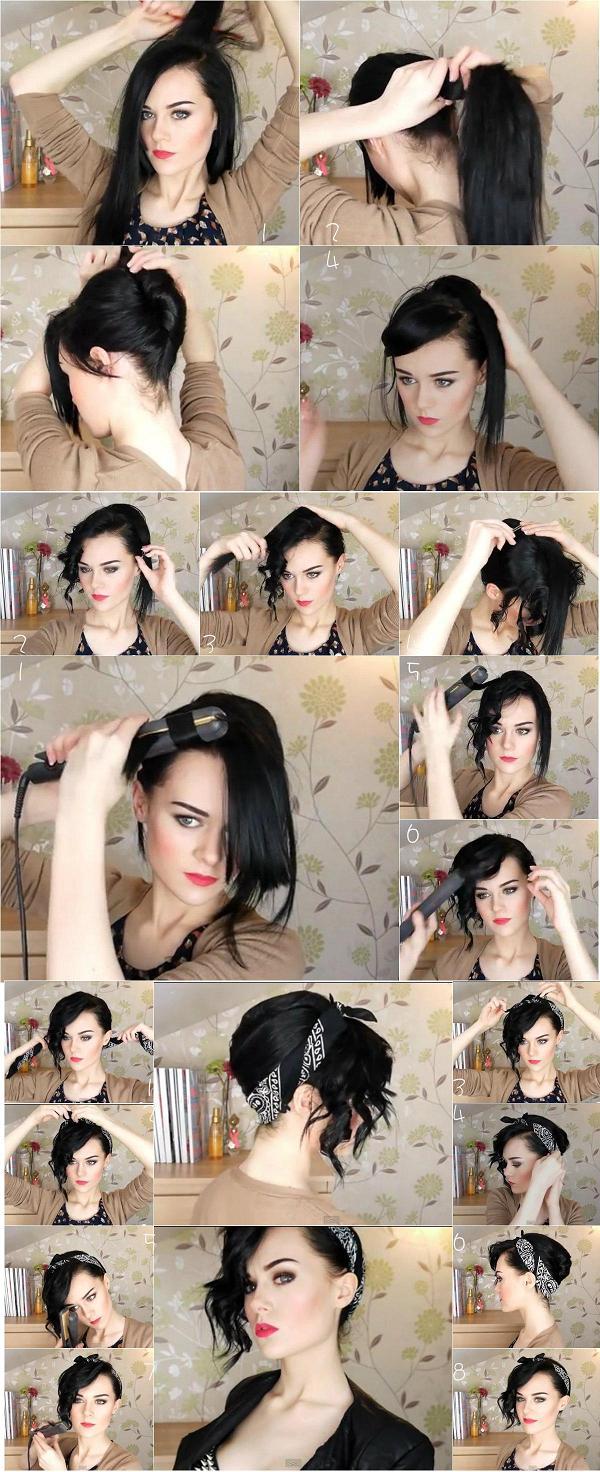 easy-updo-hairstyle-using-a-bandana