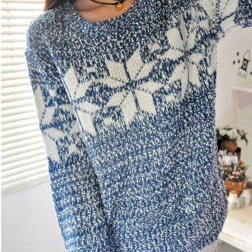 european style snowflake knit sweater-f84941