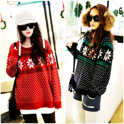 loose crochet christmas snowflake sweater - cute knit christmas snowflake sweater for girls-f86990