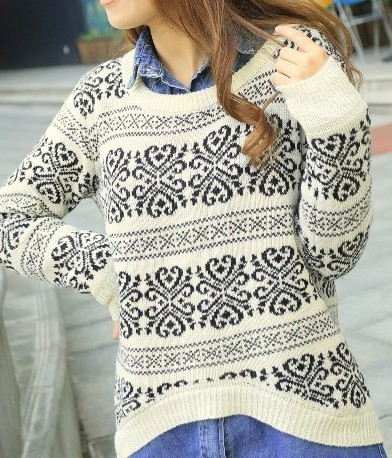 loose fitting snowflake knit sweater-f32143