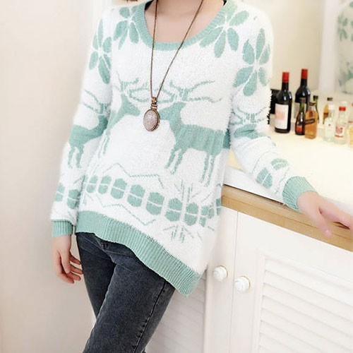 sweet cute snowflake deer print mohair sweater-f81519